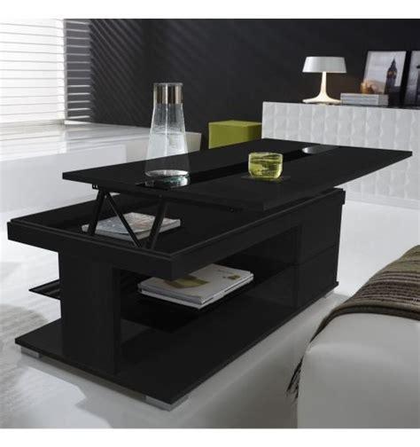 table basse relevable bois gris 233 et verre noir