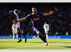 Luis Suarez celebrates landmark goal against Real Madrid