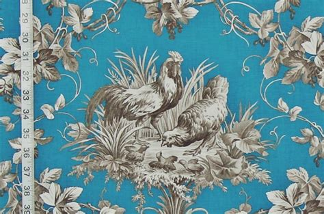 French Rooster Toile Fabrics Listed! Small Glass Top Kitchen Tables Baby Shower Table Setting Linon Space Saver Set Dining Room Sets Round Farmhouse With Tile Silverware Place Settings On Lamp