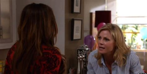 modern family gloria tells others about pregnancy in season 4 promo huffpost