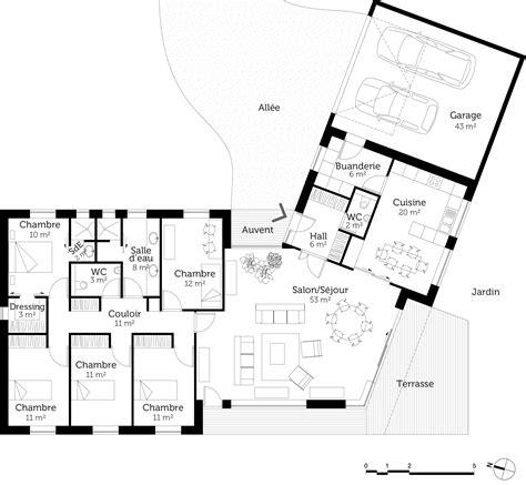 plan maison plain pied en v ooreka