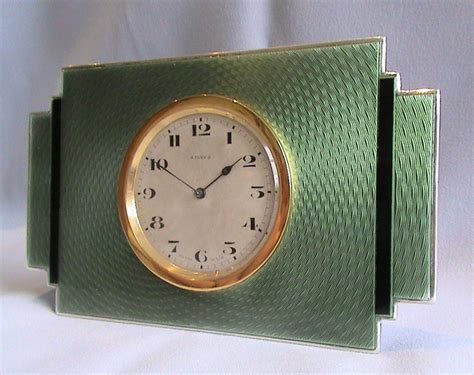 deco clock in silver with green and black guilloche enamel gavin douglas antiques