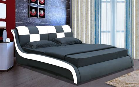 Domino Designer Leather Bed, Modern Designer Bed High Back Chairs Living Room Flooring Options For Art Work Denim Furniture Rooms Lamp Tables Small With Sectional Portland Black And White Pictures