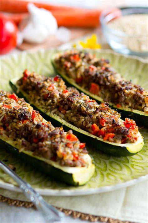 Mushroom Stuffed Zucchini Boats by Stuffed Zucchini Boats With Garlic Sauce Delicious Meets