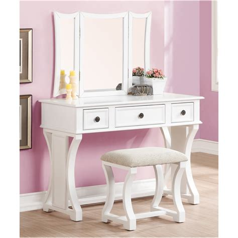 poundex 3 pc white finish wood make up bedroom vanity set with curved pedestal legs stool and
