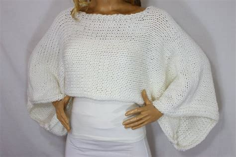 Hand Knit Cozy White Long Sleeve Cropped Sweater Shrug Wrap Shawl Bolero For Cold Winter's By