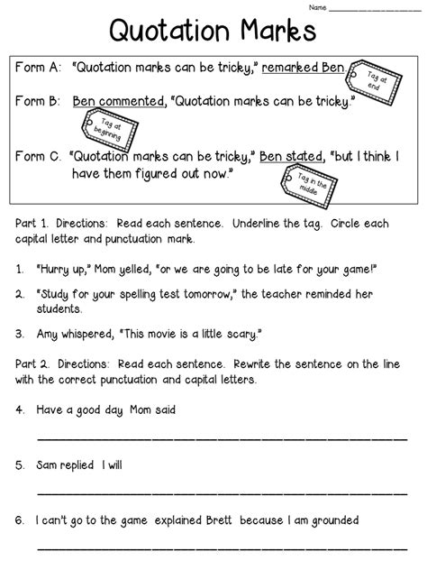 Crafting Connections Quotation Marks Anchor Chart (with Freebie