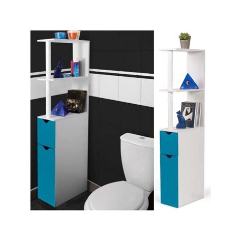 meuble wc 233 tag 232 re bois gain de place pour toilette 2 portes bleues
