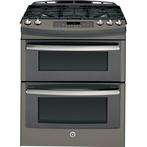 ge profile 6 8 cu ft oven gas range with self cleaning convection oven in slate