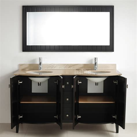 Bridgeport 60 Inch Modern Bathroom Vanity, Beige Marble