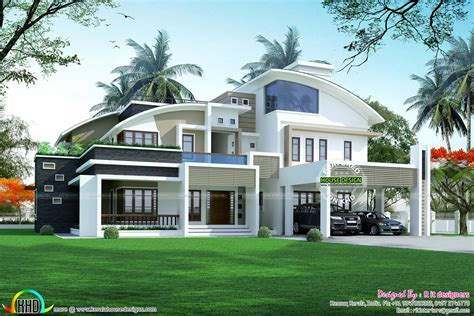 R It Designers (home Design In Kannur) : 5 Bhk Contemporary Style Curved Roof