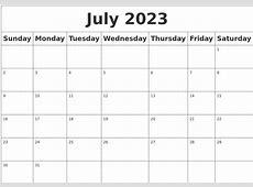 July 2023 Blank Calendar