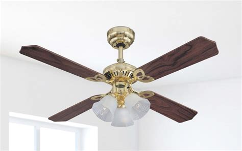 105 cm westinghouse princess trio ceiling fan in polished brass with reversible blades in oak with r