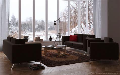 25creative chocolate living room with windowed wall