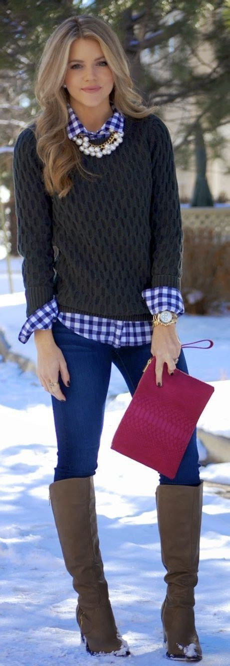 Classic Winter Layers  Winter Clothes  Pinterest  Gingham, Blue And White And Winter