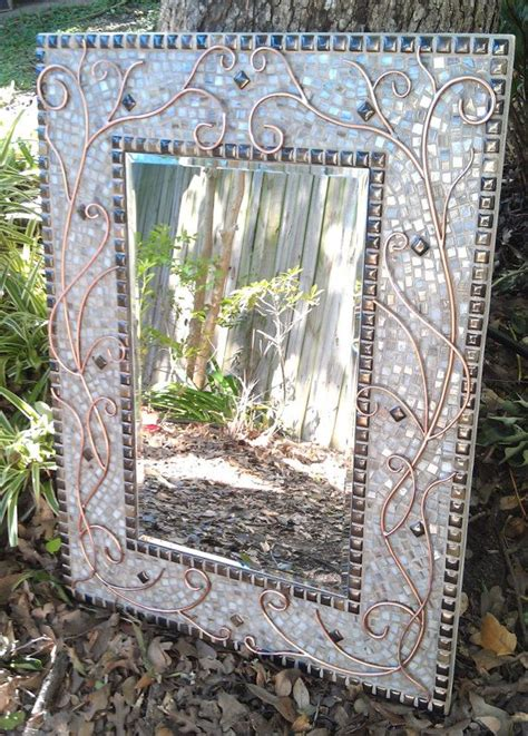 large mosaic mirror lovely copper white and bronze stained glass rectangle mirror with