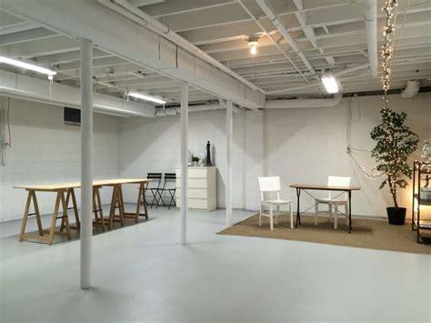 studio in semi finished basement spray paint ceiling white basement studios