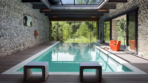 Modern Indoor Swimming Pool With Glass Roof