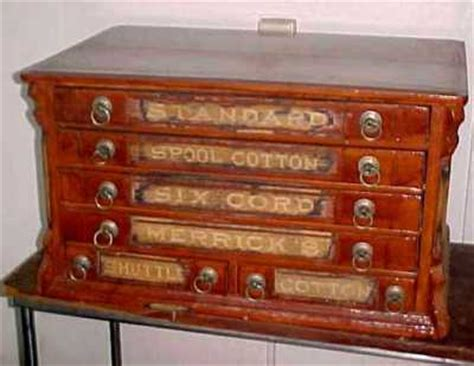 antique oak merrick s 6 drawer spool sewing cabinet antique price guide details page