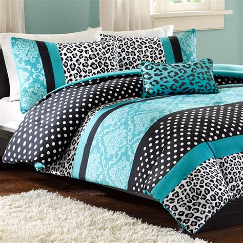 mizone xl comforter set teal leopard free shipping