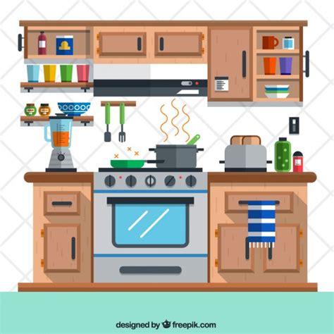 Kitchen In Flat Design Vector  Free Download