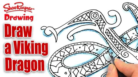 How To Draw A Dragon Boat by How To Draw A Viking Dragon Spoken Tutorial Youtube