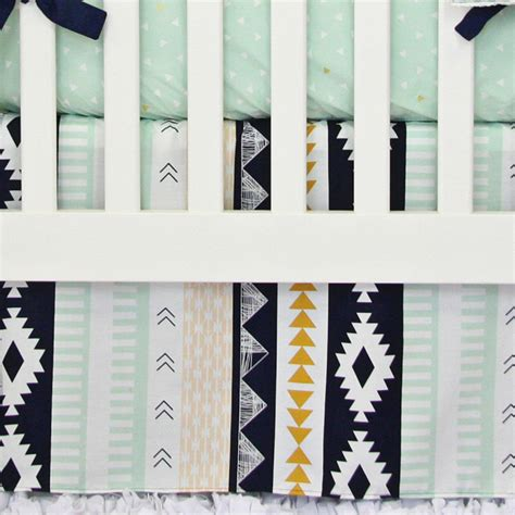 aztec gold and mint crib bedding set by caden