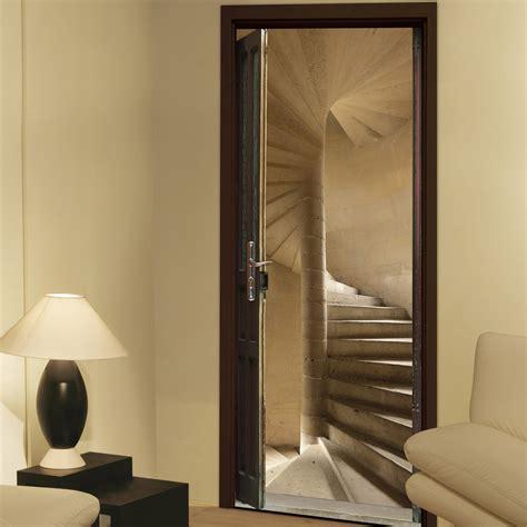 sticker porte ondoor escalier 224 vis 83 cm x 204 cm leroy merlin