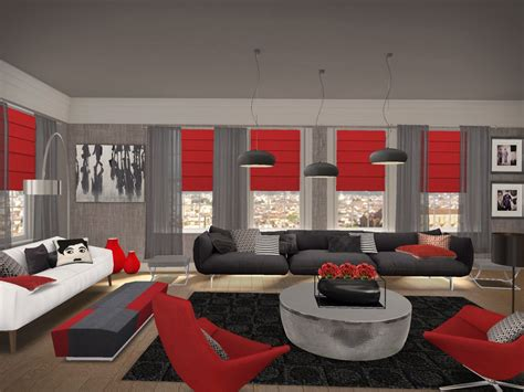 Gray And Red Living Room