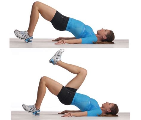 glute bridge with marching 5 to work your popsugar fitness