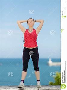 Girl Posing With Arms Raised Stock Photography ...