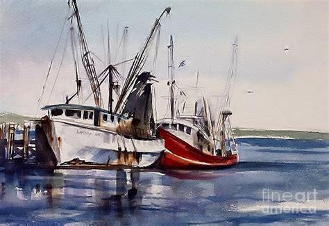Shrimp Boat Tour Biloxi Mississippi by Biloxi Shrimp Boats Painting By Bruce Repei