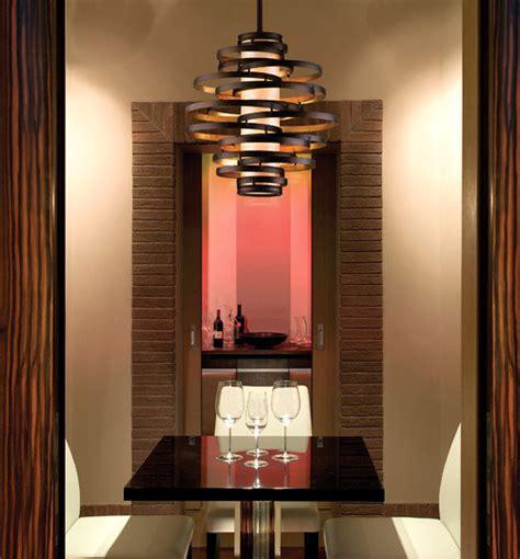 vertigo spiral bronze and gold leaf modern pendant chandelier lighting modern living room
