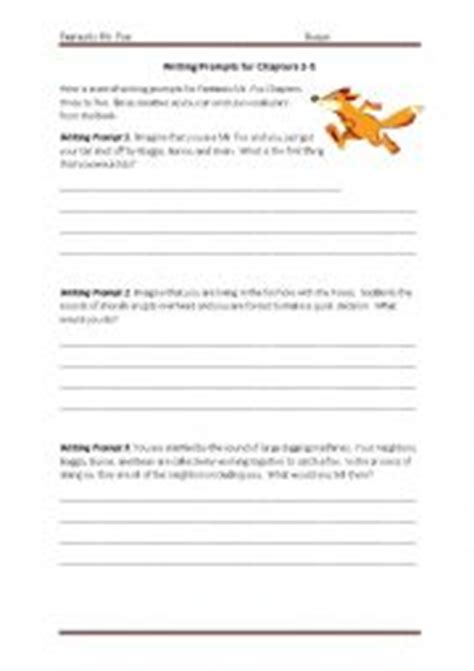 English Worksheets Fantastic Mr Fox Writing Prompts For Chapters 35