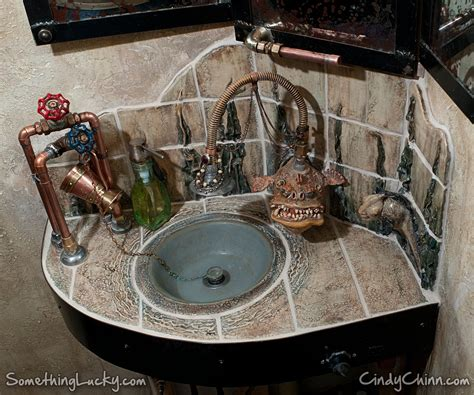 Kitchen Sink Makers by Hand Crafted Steampunk Sculpted Tile Sink And Vanity By