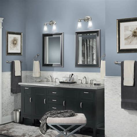 best grayish blue paint colors for modern bathroom with black cabinets and vanity lightings