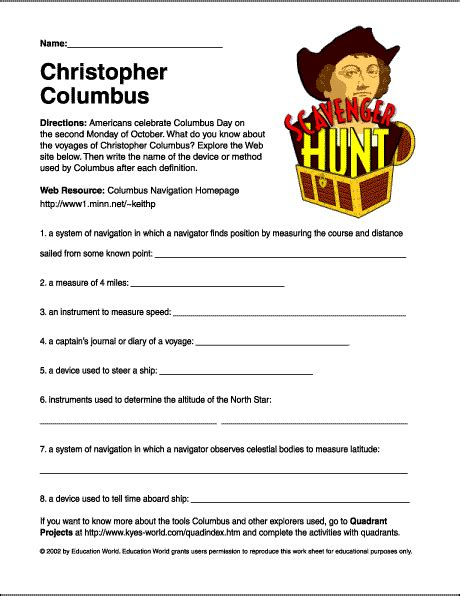 "Scavenger Hunt ""christopher Columbus"" Worksheet  Education World"