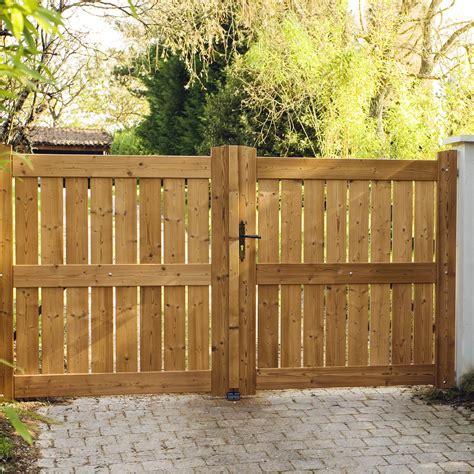 portail battant bois le porge naturel l 300 x h 160 cm leroy merlin