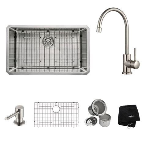 Home Depot Kraus Farmhouse Sink by Kraus All In One Undermount Stainless Steel 15 In Single