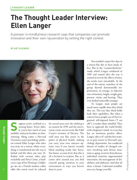 Ellen Langer on the Value of Mindfulness in Business