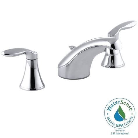 kohler coralais 8 in widespread 2 handle low arc bathroom faucet in polished chrome k 15261 4