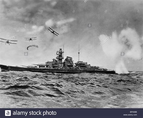 planes attack warship sink the bismarck 1960 stock photo royalty free image 30952499 alamy