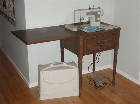 vintage sears kenmore sewing machine with wooden cabinet carry runs great haute juice