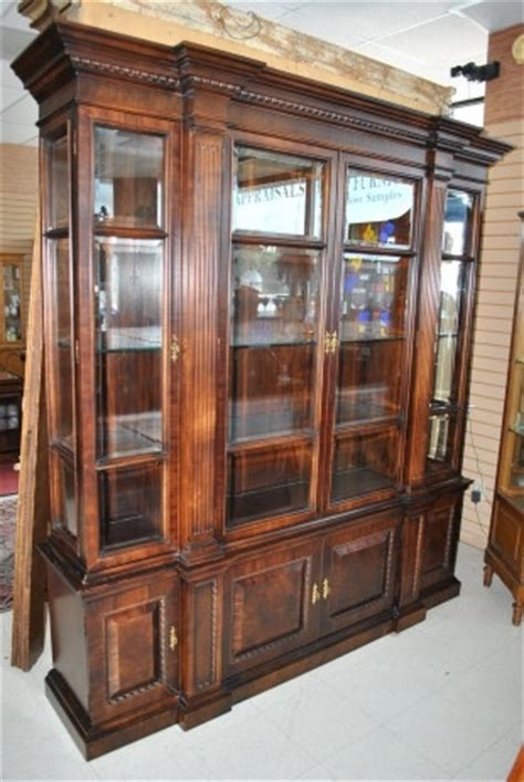 large breakfront mahogany lighted 4 glass door china cabinet baker 88 quot high home ideas
