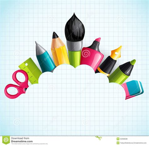 Background With Drawing And Writing Tools Royalty Free Stock Photos  Image 32368598