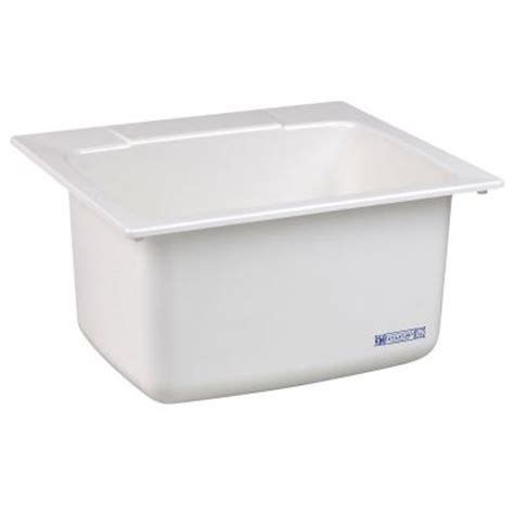 mustee 22 in x 25 in molded fiberglass self utility sink in white 10 the home depot