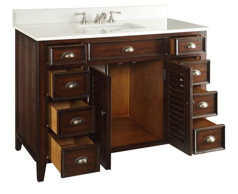 46 inch bathroom vanity cottage style brown cabinet white