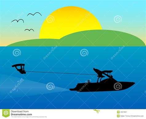 Cartoon Boat Wake by Wakeboarder 1 Vector Illustration Cartoondealer