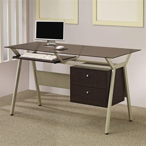 desks metal glass computer desk with two drawers lowest price sofa sectional bed table