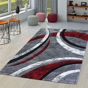 Teppich Wohnzimmer Grau : teppich wohnzimmer gestreift modern mit konturenschnitt in rot grau schwarz moderne teppiche ~ Markanthonyermac.com Haus und Dekorationen